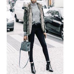 ZARA WOMAN Black Brocade Skinny Jeans Ankle Zip